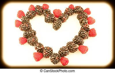 coeur, clair, fruit