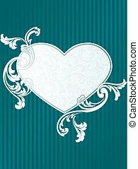 coeur, classique, formé, francais, vert, retro, bannière