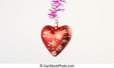 coeur, clinquant, plage relèvement arbre, noël, rouges