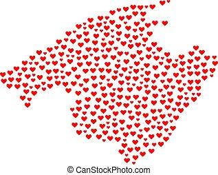 coeur, collage, carte, de, majorque