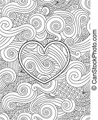 coeur, coloration, amour, card., ornament., vague, asiatique, boucle, valentin, page, jour, heureux
