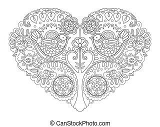 coeur, coloration, illustration, vecteur, conception, livre