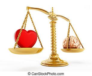 coeur, concept, égalité, cerveau