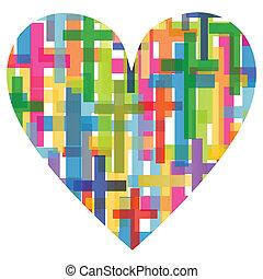 coeur, concept, affiche, résumé, croix, illustration, ...