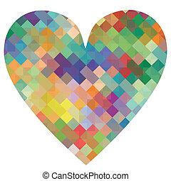 coeur, concept, amour, affiche, résumé, illustration, vecteur, fond, mosaïque