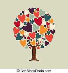 coeur, concept, amour, arbre, illustration, forme