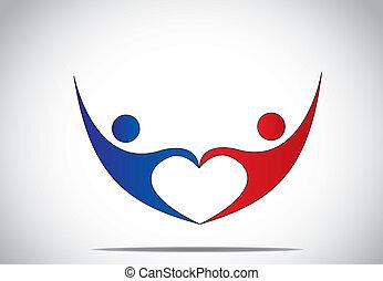coeur, concept, amour, danse, jeune, symboles, femme,...