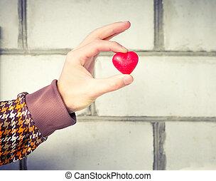 coeur, concept, amour, romantique, relation, gens, mur, symbole, valentines, salutation, main, forme, fond, homme, brique, vacances, jour, hiver