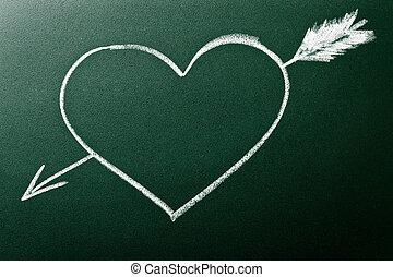 coeur, concept, amour, vue, flèche, premier