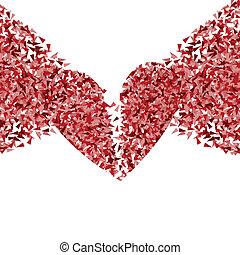coeur, concept, cassé, vecteur, fond, fragments, fait