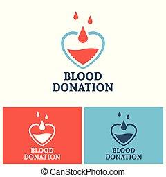 coeur, concept, donation, vecteur, sanguine, logo