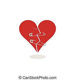 coeur, concept, ensemble, garder, cassé, sécurité, illustration, epingles