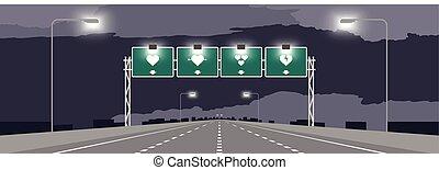 coeur, concept, espace, nuit, symbole, ciel, valentin, autoroute, illustrations, fond, vert, signage, sombre, conception, copie, ou, autoroute