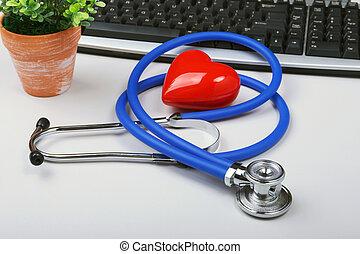 coeur, concept, espace, ordinateur portable, moderne, text., stéthoscope, computer., healthcare, table, blanc rouge