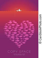 coeur, concept, fish, tige, idée, peche, banc, violet, bateau, espace, gradient, isolé, fond, orange, commercialisation, symbole, illustration, copie, école, pêcheur, petit, ou