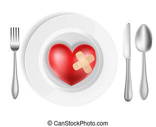 coeur, concept, fourchette, plaque, couteau