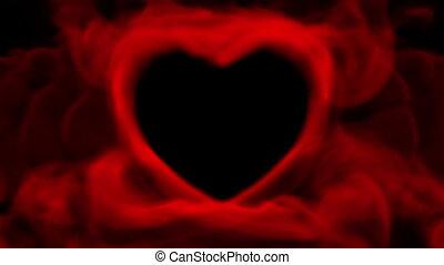 coeur, concept, fumée, rouges, valentin