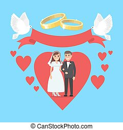 coeur, concept, grand, couple, ruddy, jour mariage