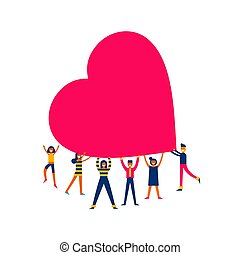coeur, concept, groupe, gens, grand, illustration, amour, prise