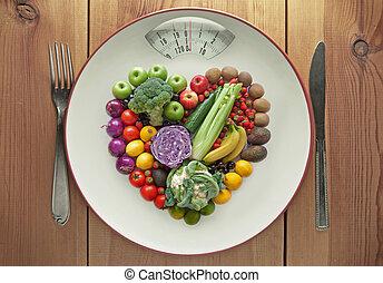 coeur, concept, légumes, régime, forme, fruit
