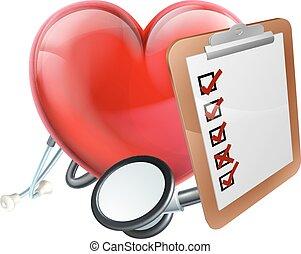 coeur, concept médical, stéthoscope, presse-papiers