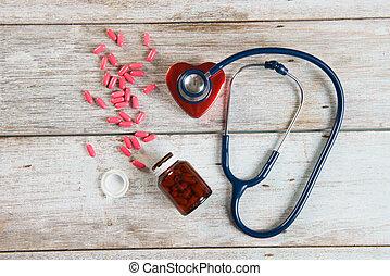 coeur, concept, photo, stéthoscope, santé