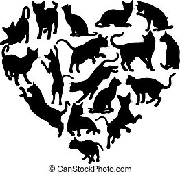 coeur, concept, silhouette, chat