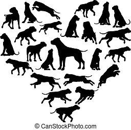 coeur, concept, silhouette, chien