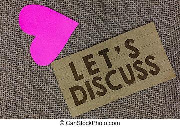 coeur, concept, texte, sur, topic, papier, bavarder, aller, ouvert, discuss., carré, écriture, partage, business, communiquer, ideas., laisser, fond, jute, mot, carton, haut, s, permis, morceau, parler