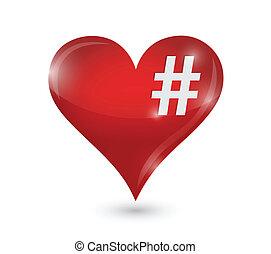 coeur, conception, illustration, hashtag