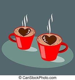 coeur, concept..vector, illustration., tasse, boisson, café, rouge chaud