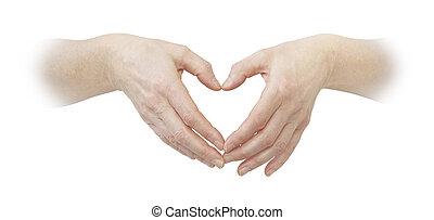 coeur, confection, mains