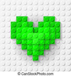 coeur, construction, fait, vert, kit