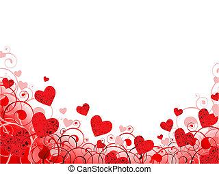 coeur, copyspace, tourbillons, cadre, rouges
