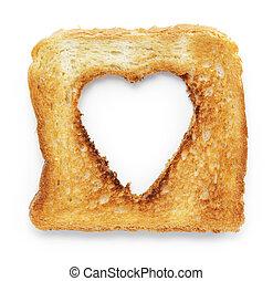 coeur, couper, blanc, forme, trou, grillé, pain