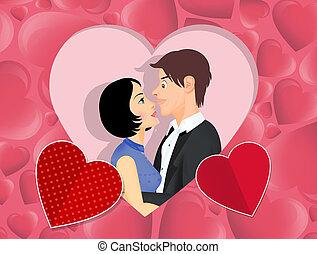 coeur, couple, amants