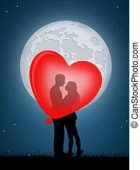 coeur, couple, balloon, baisers