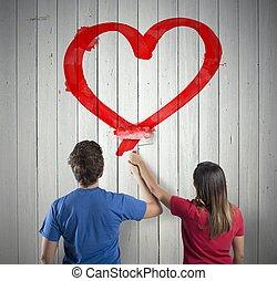 coeur, couple, dessin
