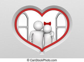 coeur, couple, fenêtre, formé