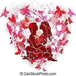 coeur, couple, forme, fond