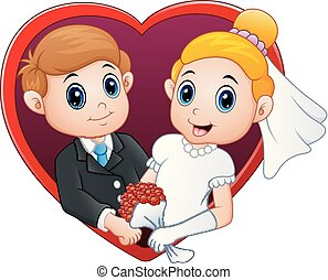 coeur, couple, forme, mariage, cadre, rouges