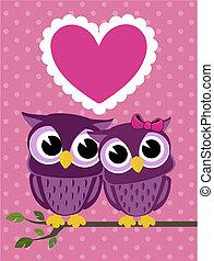 coeur, couple, hiboux, amour, mignon