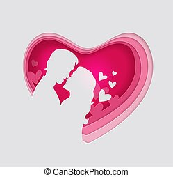 coeur, couple, papier, amour