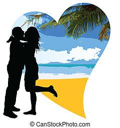 coeur, couple, plage