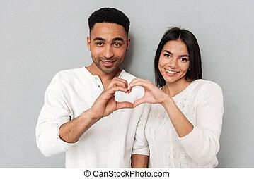 coeur, couple, projection, jeune, mains