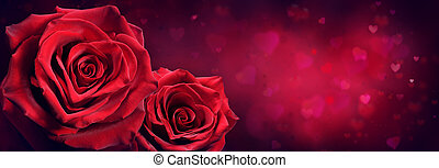 coeur, couple, roses, forme, passion, fond, rouges