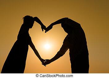 coeur, couple, silhouette, coucher soleil, aimer