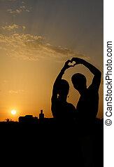 coeur, couple, silhouette, forme, confection