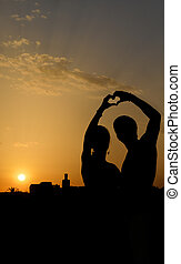 coeur,  couple,  silhouette, FORME, confection