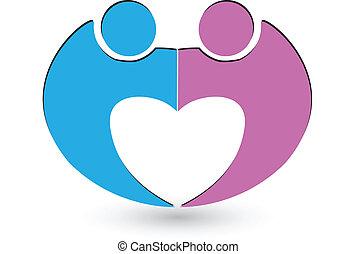 coeur, couple, vecteur, forme, logo